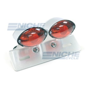 Dual Small Cateye Brake Light with License Plate Bracket 62-21602