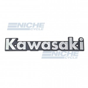 Classic Kawasaki Tank Badge Silver/Black 43-95911