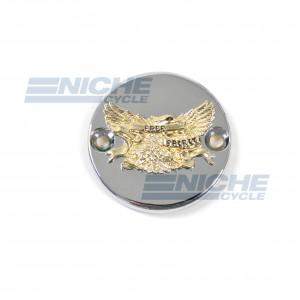 Kawasaki Round Style Chrome & Gold Master Cylinder Reservoir Cap 58-94551