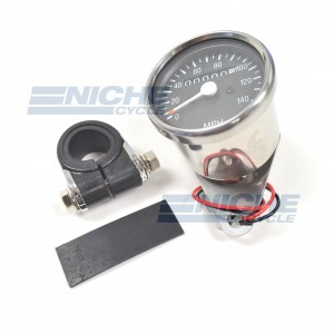 Mini Speedometer Gauge w/Bar Clamp 140 MPH - 1:1 Ratio 58-43671