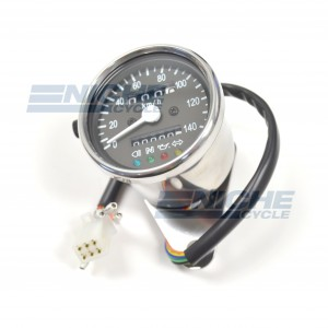 Mini Speedometer Gauge 140 KPH Dummy Lights - 4:1 Ratio 58-43690