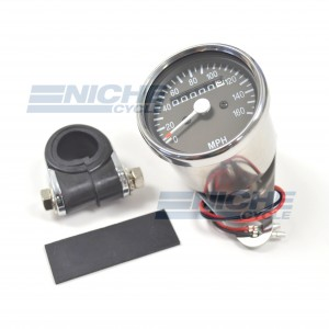 Mini Speedometer Gauge w/Bar Clamp 160 MPH - 60MPH=2240RPM 58-43670