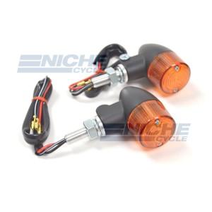Aluminum Body Dual Filament Winker Set - Black/Amber 61-66101