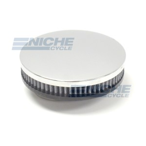 Offset Slim Pancake 58mm Chrome Air Filter RC-305